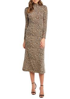Bardot Leopard Long Sleeve Body-Con Midi Dress