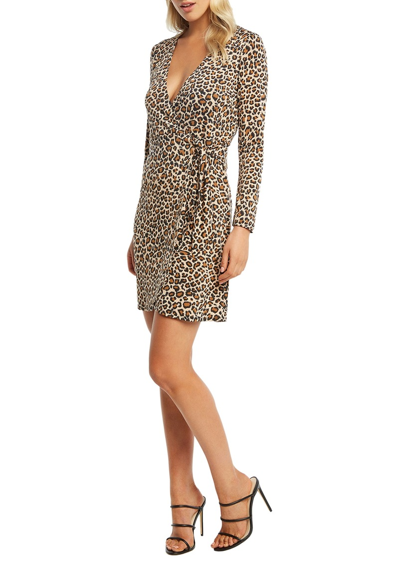 Bardot Leopard Long Sleeve Wrap Dress