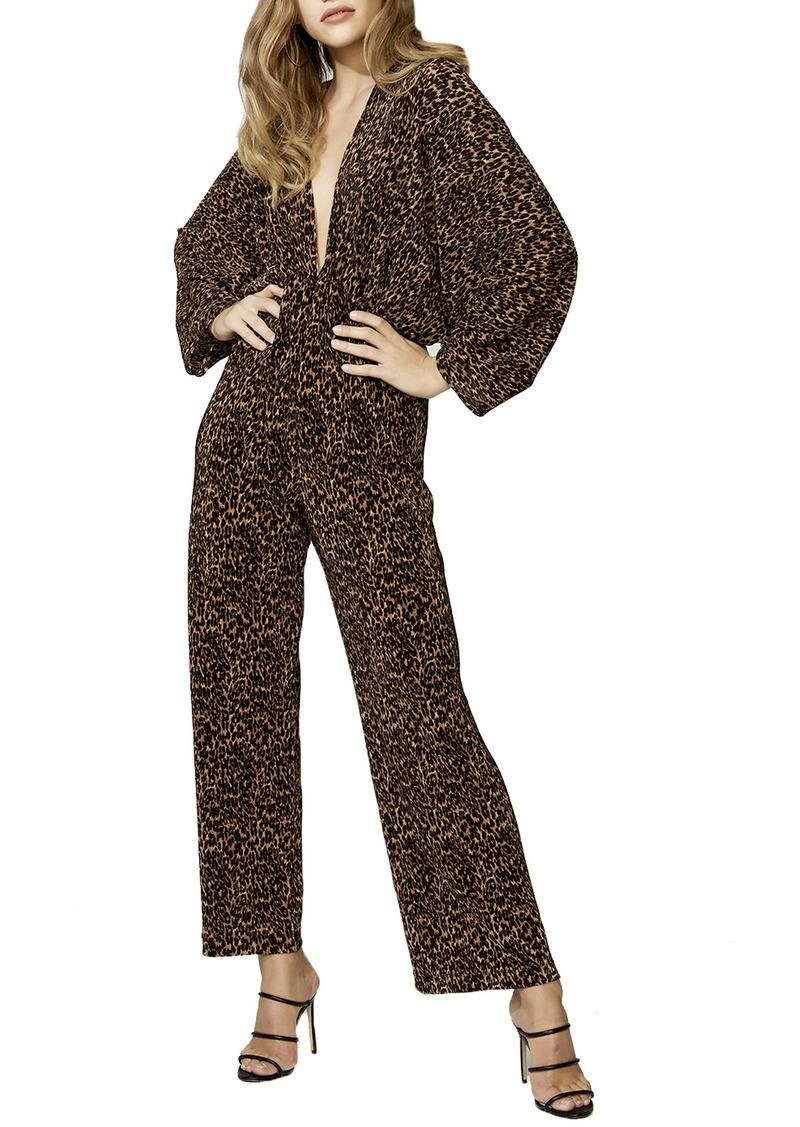 Bardot Leopard Print Long Sleeve Jumpsuit