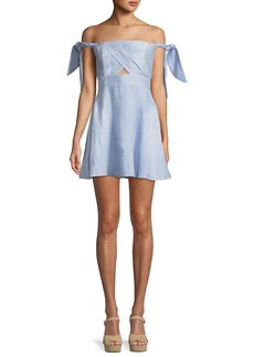 Bardot Linen Striped Tie-Shoulder Fit-and-Flare Dress