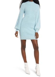 Bardot Long Sleeve Fuzzy Sweater Minidress
