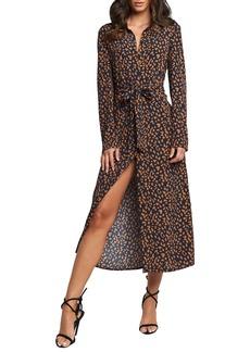 Bardot Long Sleeve Leopard Print Shirtdress