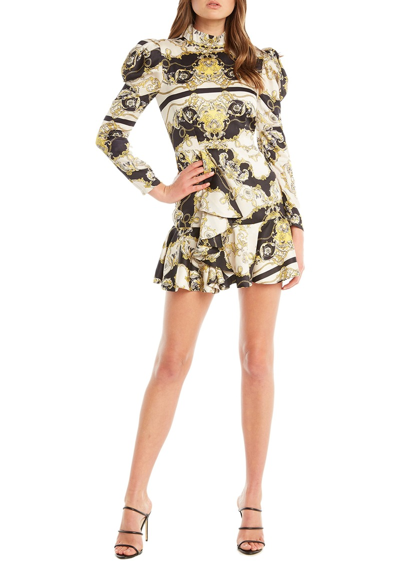 Bardot Long Sleeve Scarf Print Minidress