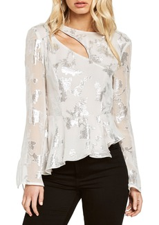 Bardot Metallic Cutout Silk Blend Blouse