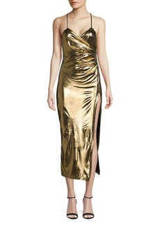 Bardot Metallic Open-Back Midi Dress