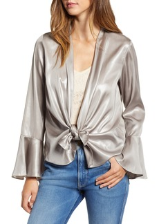 Bardot Metallic Plunging Tie Blouse
