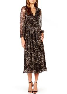 Bardot Metallic Stripe Leopard Plissé Midi Dress
