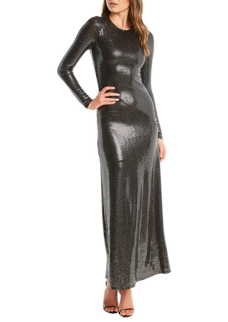 Bardot Mirror Sequin Long Sleeve Gown