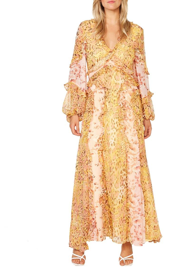Bardot Mixed Print Long Sleeve Ruffle Maxi Dress