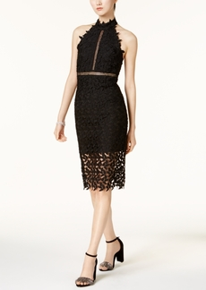 Bardot Mock-Neck Lace Illusion Dress