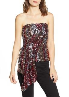 Bardot Multicolor Strapless Sequin Top