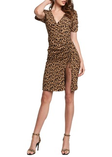 Bardot Nicola Leopard Print Side Slit Ruched Dress