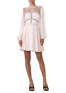 Bardot Olivia Crochet Lace & Satin Long Sleeve Minidress
