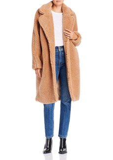 Bardot Oversized-Lapel Teddy Coat