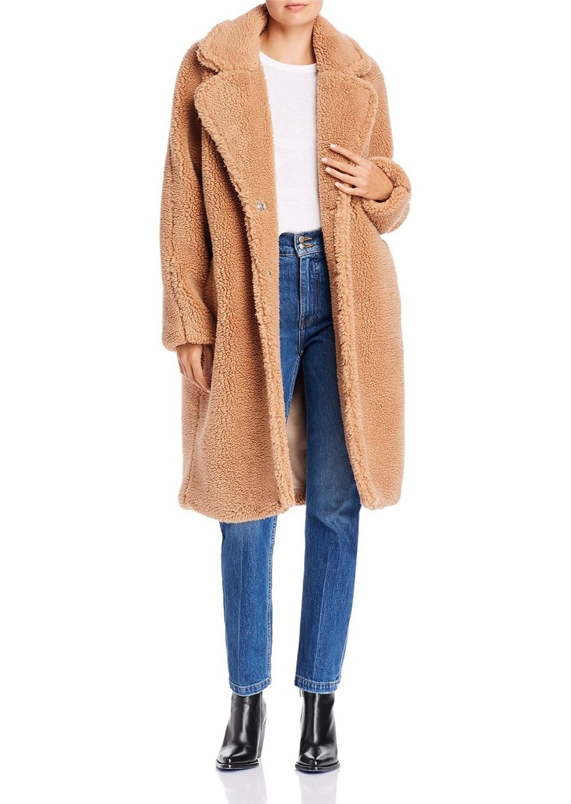 Bardot Oversized-Lapel Teddy Coat