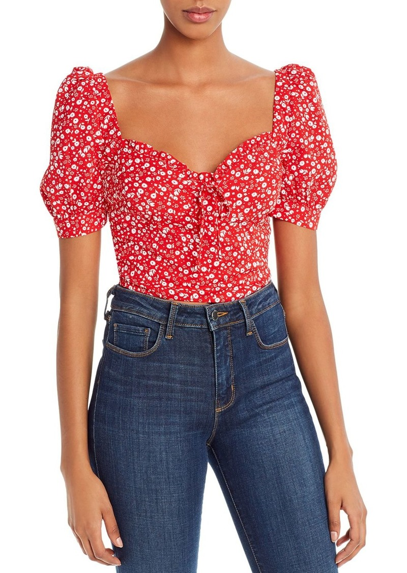 Bardot Puff-Sleeve Floral Cropped Top