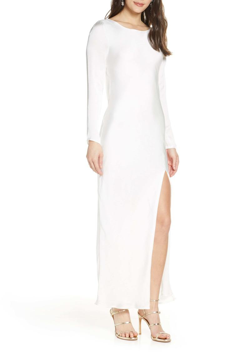 Bardot River Bias Long Sleeve Open Back Satin Dress