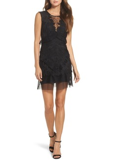 Bardot Ruffle Trim Lace Sheath Dress