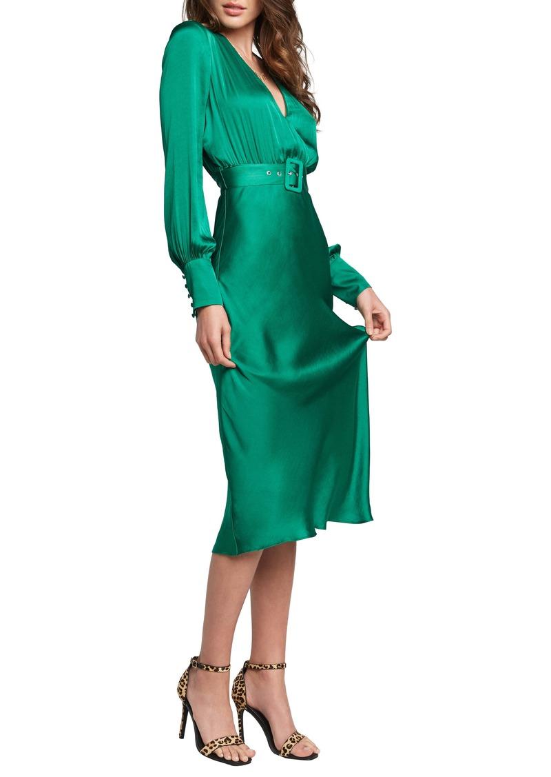 Bardot San Diego Belted Satin Midi Dress