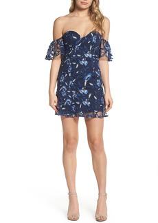 Bardot Sapphire Lace Off the Shoulder Dress