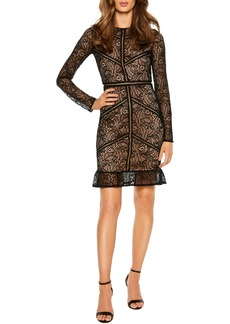 Bardot Sasha Long Sleeve Lace Cocktail Minidress