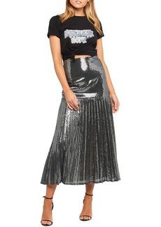 Bardot Sequin Pleated Midi Skirt