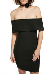 BARDOT Solid Popover Off-The-Shoulder Dress