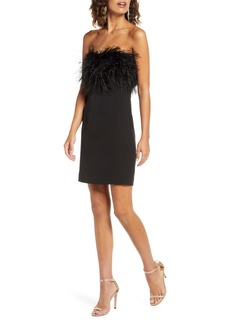 Bardot Strapless Feather Neck Cocktail Dress