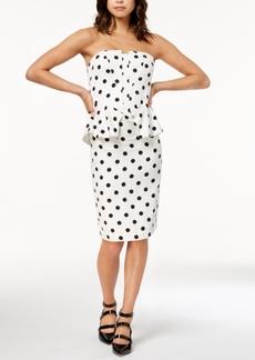 Bardot Strapless Polka Dot Peplum Dress