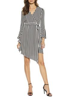 Bardot Stripe Asymmetrical Long Sleeve Faux Wrap Dress