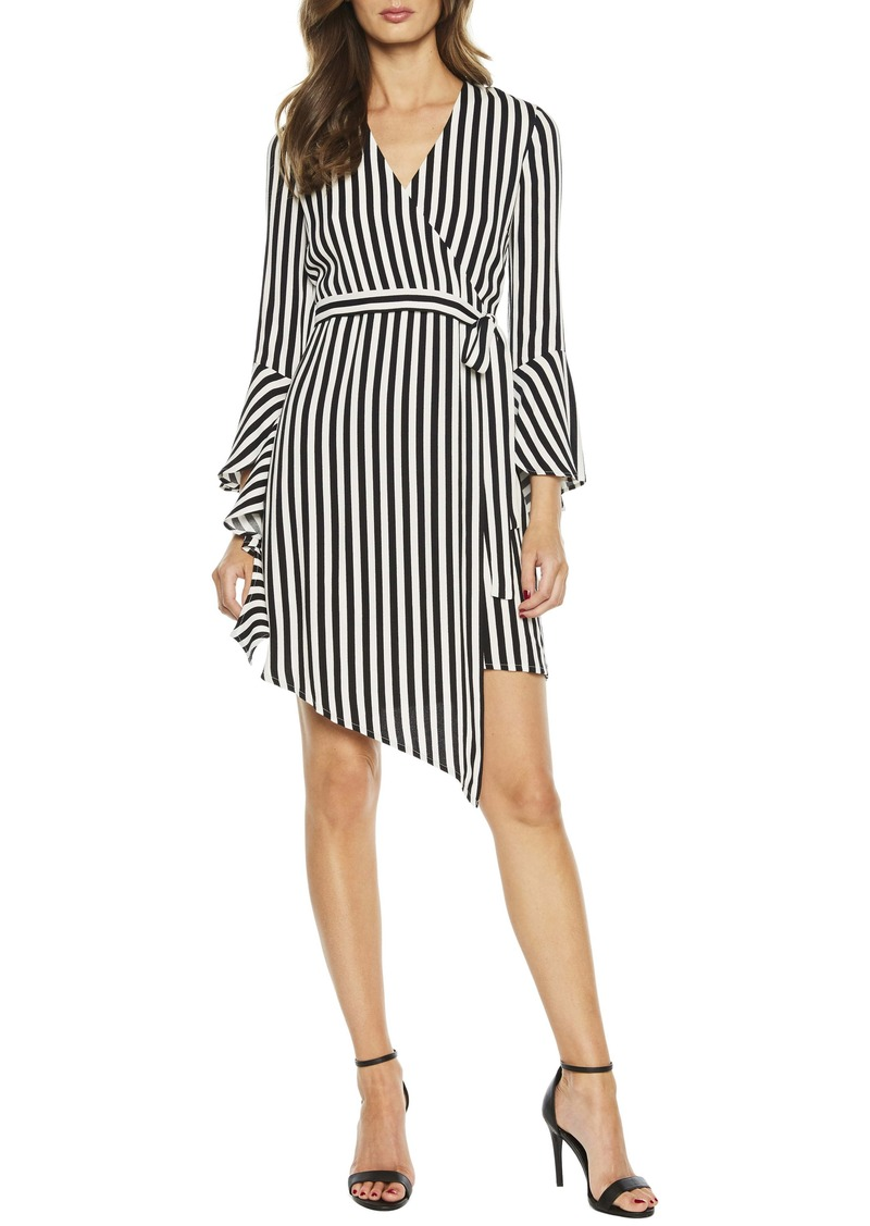 Bardot Stripe Asymmetrical Long Sleeve Faux Wrap Dress