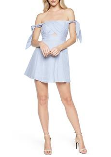 Bardot Stripe Off the Shoulder Linen Dress