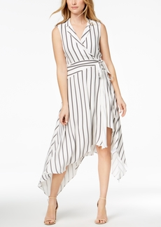 Bardot Striped Wrap High-Low Midi Dress