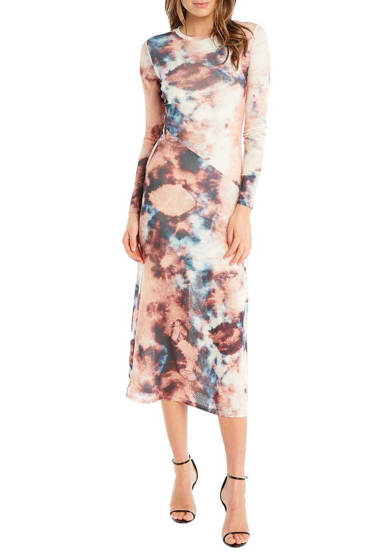 Bardot Tie Dye Long Sleeve Midi Dress