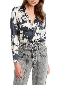 Bardot Tie Dye Print Button-Up Blouse