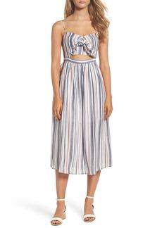 Bardot Tie Front Stripe Midi Dress