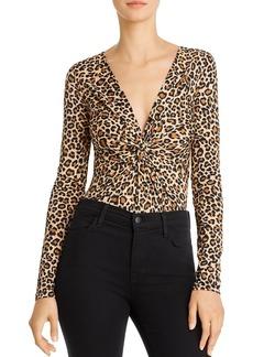 Bardot Twist-Front Leopard Print Bodysuit
