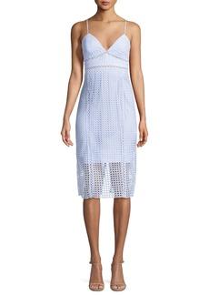 Bardot V-Neck Circle Lace Sheath Dress