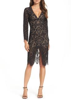Bardot V-Neck Lace Sheath Dress