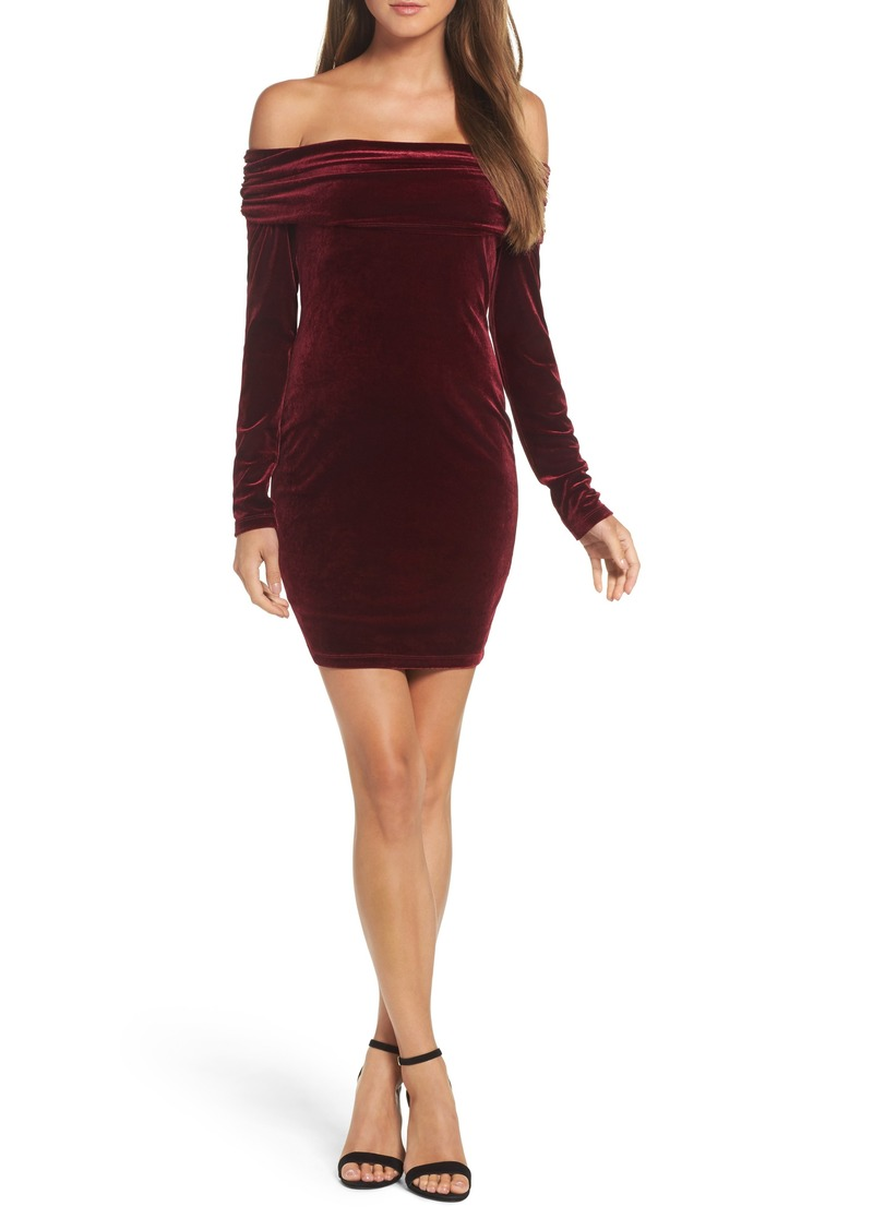 50be9945f0fb Bardot Bardot Velvet Off the Shoulder Sheath Dress   Dresses
