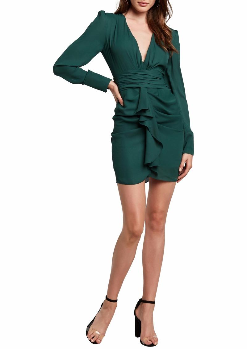 Bardot Viktoria Long Sleeve Plunge Minidress
