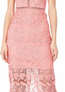 Bardot Women's All Over lace Scalloped Edge Along Neck Armhole and Hem Party Dress brit Melon xs