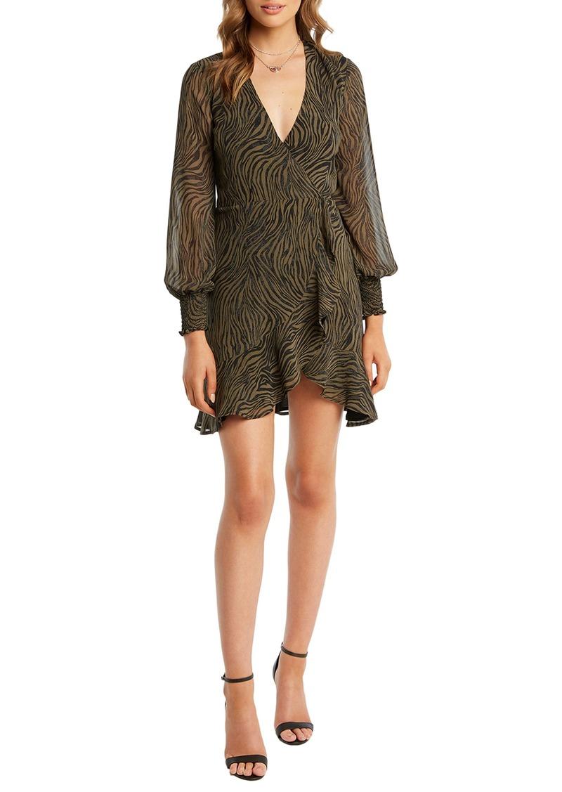 Bardot Zebra Long Sleeve Wrap Minidress
