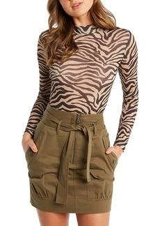 Bardot Zebra Mesh Mock Neck Top
