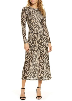 Bardot Zebra Print Long Sleeve Mesh Midi Dress