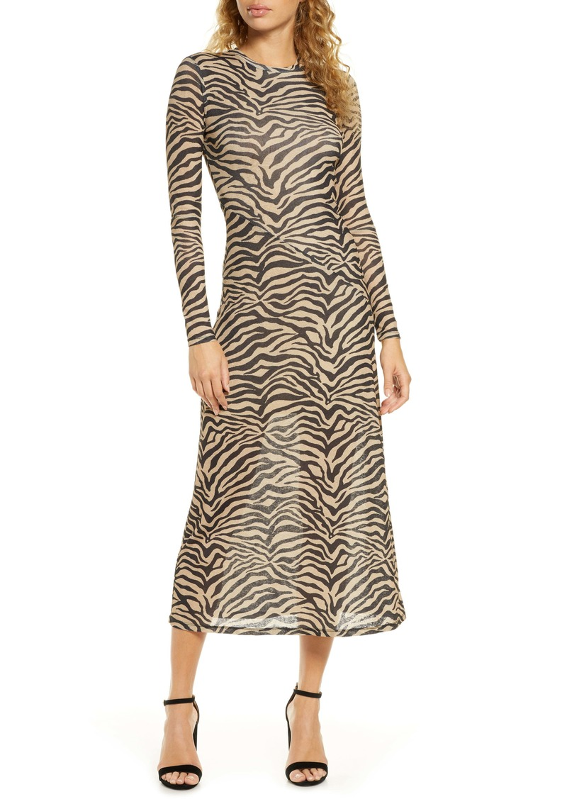 Bardot Zebra Print Long Sleeve Mesh Midi Dress
