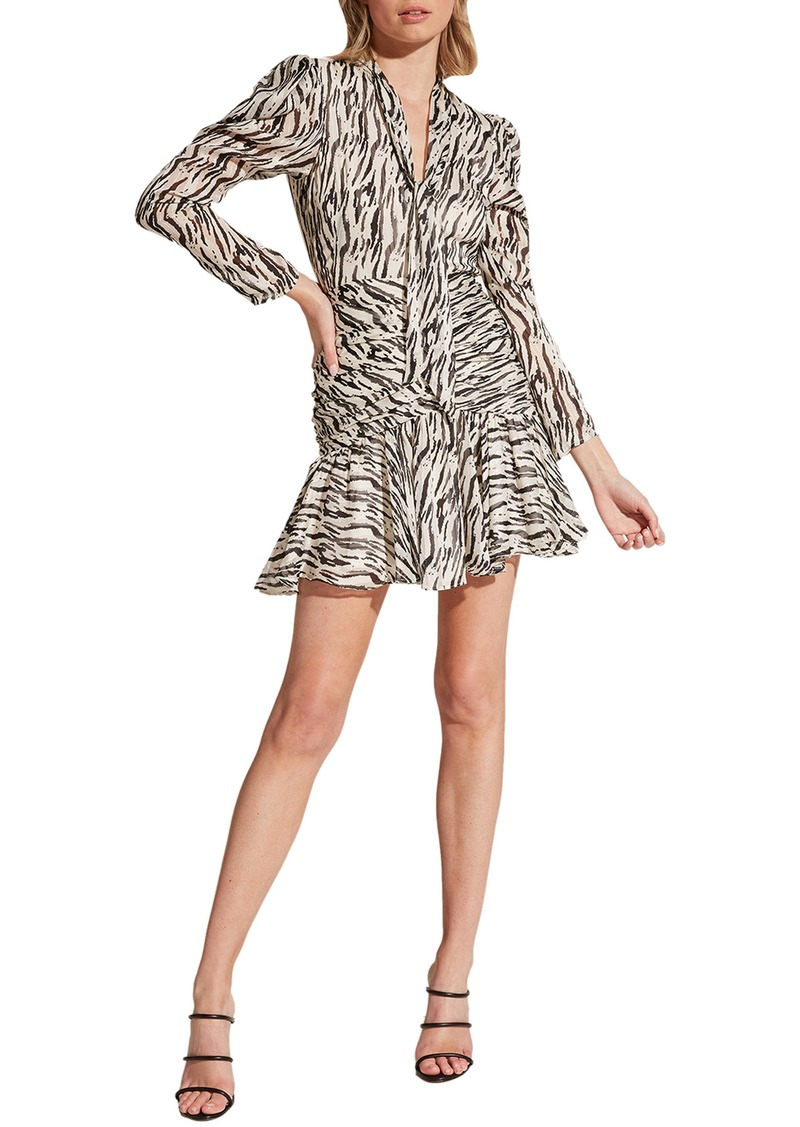 Bardot Zebra Print Long Sleeve Minidress