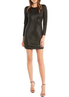 Bardot Bartdot Open Back Metallic Long Sleeve Minidress