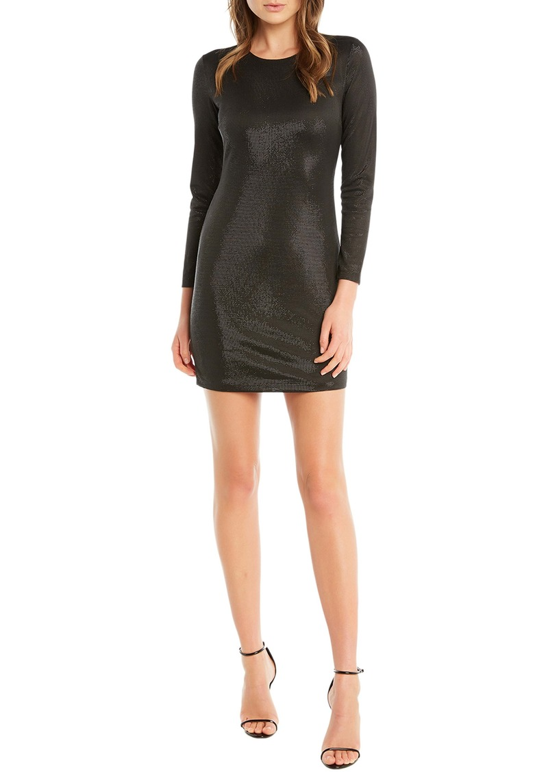 Bardot Bartdot Open Back Metallic Long Sleeve Minidress