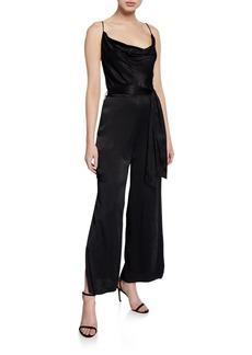Bardot Cowl-Neck Sleeveless Split-Leg Jumpsuit